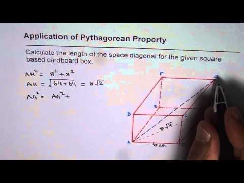 Pythagorean Application to Calculate Space Diagonal in Rectangular Prism