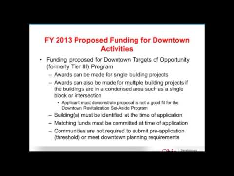 2013 Opportunities for Downtown Revitalization Funding