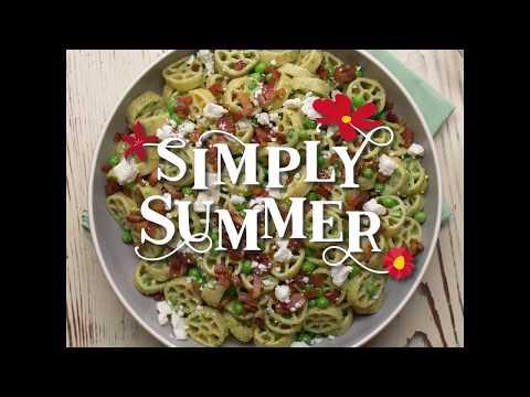 Bacon, Pesto and Pea Wagon Wheel Salad - Simply Summer