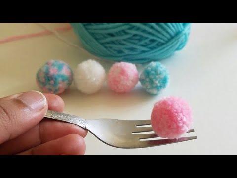 How to make pom poms with fork||making mini pom poms||diy pom poms