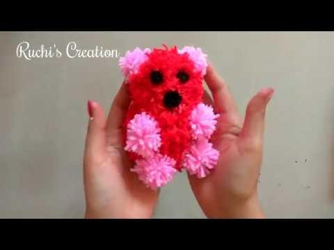 DIY pom pom Teddy Bear | Valentine's day gift | Yarn craft | How to make yarn pom pom