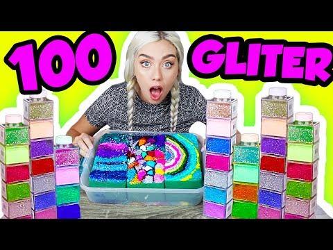 100 BOTTLES OF GLITTER ON FLORAL FOAM! MOST SATISFYING FLORAL FOAM VIDEO