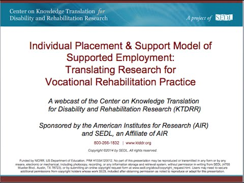 Individual Placement & Support Model of Supported Employment