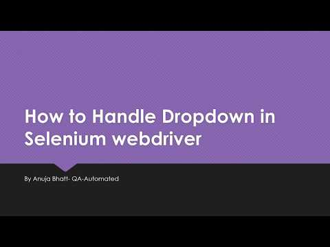 How to Handle Dropdown in Selenium webdriver