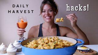 Daily Harvest Hacks MUKBANG   Vegan Broccoli + Cheese Mac, Chai Cupcakes, Orange Sangria + More!