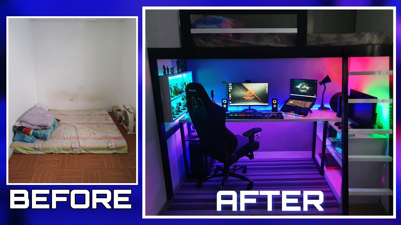 DIY LOFT BED  W/ GAMING AREA  Small Room Makeover Ultimate Gaming Room Setup w/ LED expert Lighting