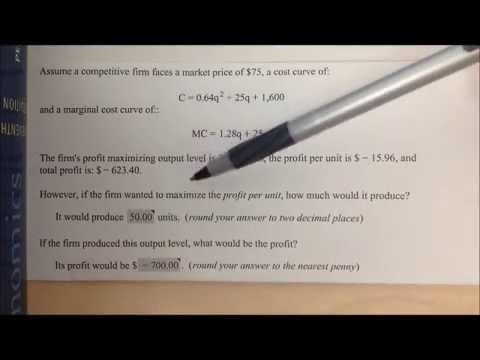 Chapter 8-B Sample Test: Profit per Unit