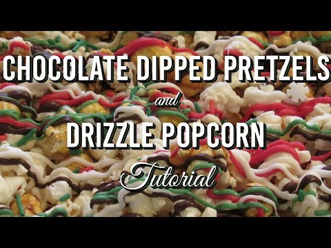 Chocolate Dipped Pretzels & Drizzle Popcorn! Easy Party Treats Tutorial!