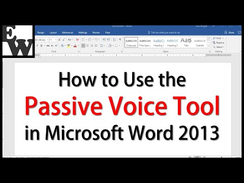 How to Use the Passive Voice Feature in Microsoft Word 2013