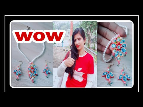 How to make quilling paper earrings nd neck set weaving studs for beginners full tutorial (craft )