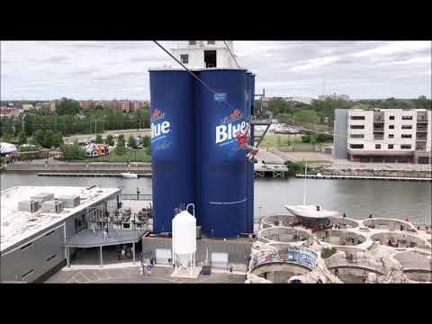 New zipline in Buffalo: Sailing between Labatt Blue silos at Riverworks