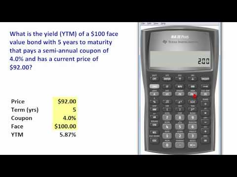 FRM: TI BA II+ to compute bond yield (YTM)