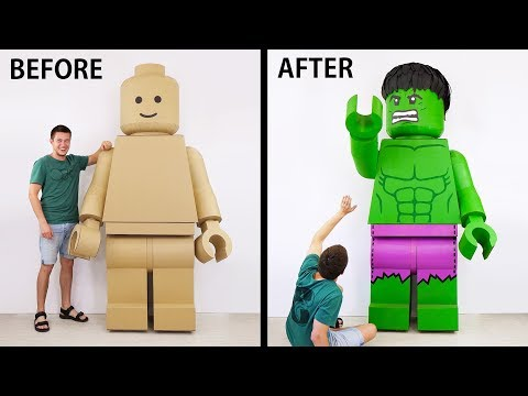 Transformation of a GIANT Lego Man into an Insane HULK