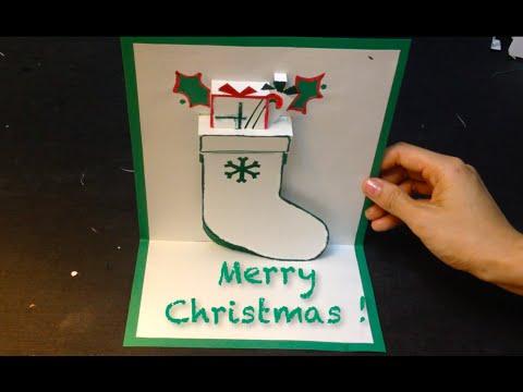 Christmas Stocking Pop Up Card, Kirigami Tutorial