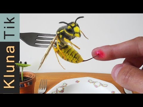 STUNG by a YELLOW JACKET!  Kluna Tik Dinner #81 | ASMR eating sounds no talk