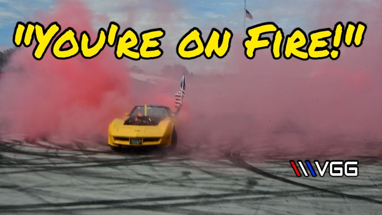 Supercharged C3 Corvette Lets ALL The Eagles fly! Huge Burnout! (multiple fires)