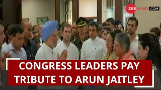 Congress leaders pay tribute to former Finance Minister Arun Jaitley