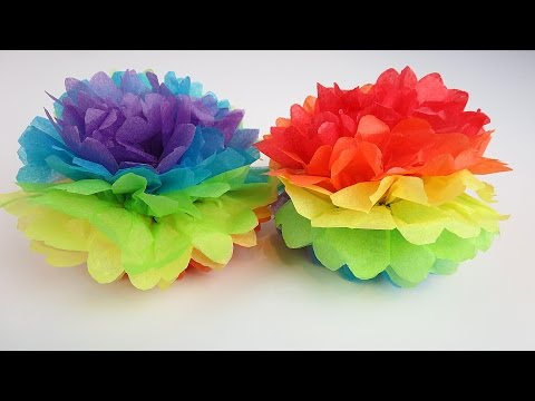 Easter Rainbow Tissue Paper Pom Pom! Fun Easy DIY Decoration for Kids!
