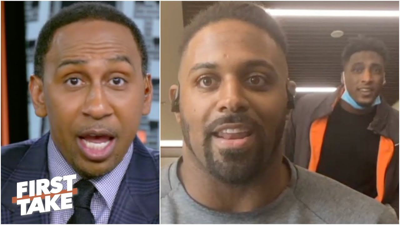 Michael Thomas crashes Cam Jordan's interview to deliver a message to Stephen A. | First Take