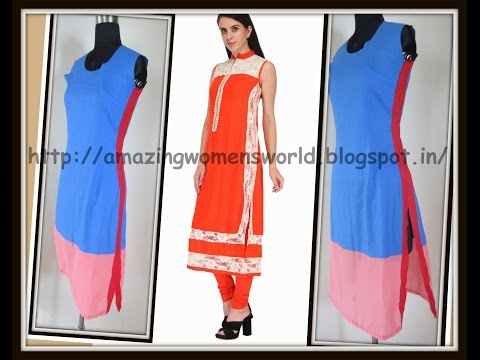STRAIGHT CUT KURTI,  SIDE LACE JOINING........NOW EASY FOR BEGINNERS TOO