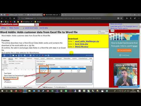 Replace Data Fields in Word automatically by Data from Excel with Office Addin