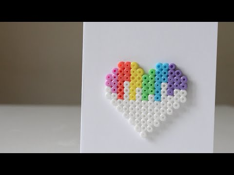 DIY Perler Bead Valentine's Day Heart Card