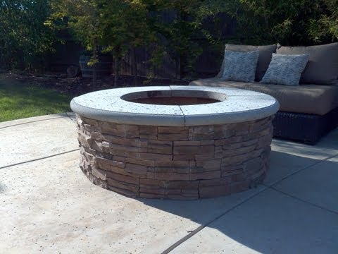 How to Build a Fire Pit with Stone Veneer Facing - DIY - Add a BBQ Grill