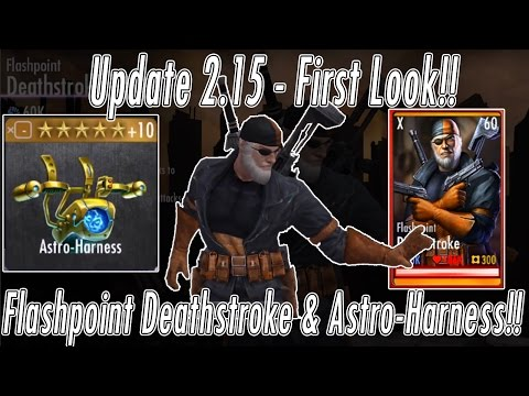 NEW Flashpoint Deathstroke & Astro-Harness/Astro Force Character/Gear Review! Injustice Mobile Game!