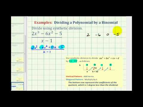 Ex 3:  Divide a Polynomial by a Binomial Using Synthetic Division
