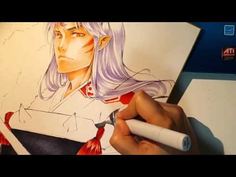 Copic Markers: My attempt to draw Sesshomaru「殺生丸を描いてみた」