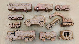 Cleaning different types of toy vehicles | Police Car, Excavator, Tank Truck, Dump Truck & Fire Cars