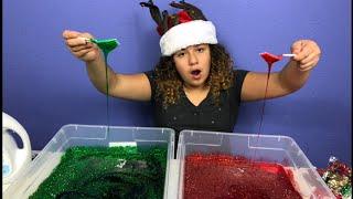 1 GALLON OF CHRISTMAS SLIME VS 1 GALLON OF CHRISTMAS SLIME - MAKING GIANT SLIME
