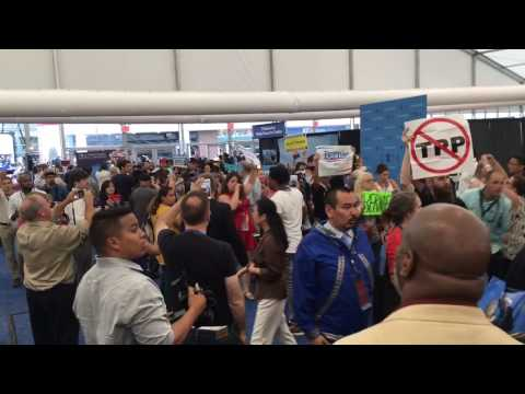 Bernie Sanders supporters storm media center at Democratic National Convention