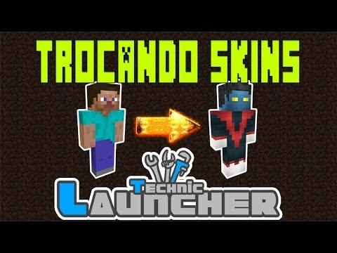 Como trocar skin no Technic Launcher Pirata