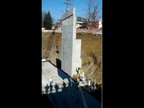 Construction - Setting Precast Double-T Wall Panels