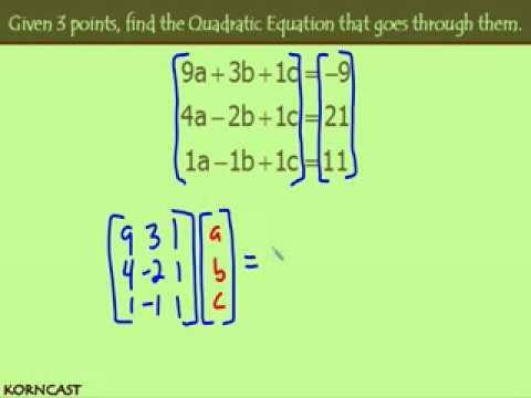 3 points to a Quadratic Equation KORNCAST