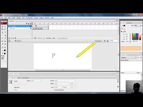 cara membuat Animasi menulis text di flash
