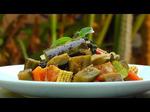 Vegan Vegetarian Thai Recipe: Pad Peht - Stir Fried Eggplant Curry