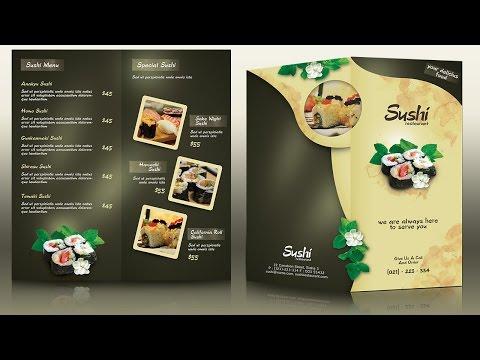 Create a Half Fold Menu Brochure Mockup Photoshop Tutorial