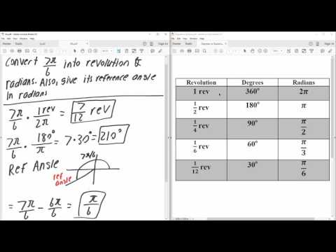 PreCal: Convert radians to revolutions and degree (Solved by Hand)