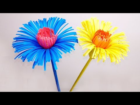 DIY Stick Making Flowers with Color Paper   Stick Paper Flower   Jarine's Crafty Creation