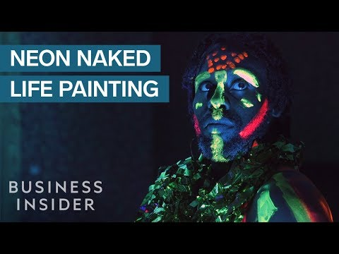 Life Painting Class Uses Neon Paint To Colorful Art