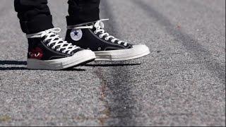 converse x comme des garcons on feet