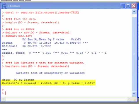 Test for Constant Variance in ANOVA using R