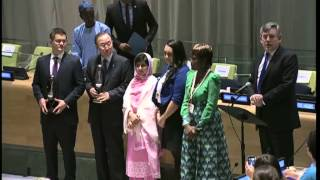 Malala addresses delegates at the United Nations