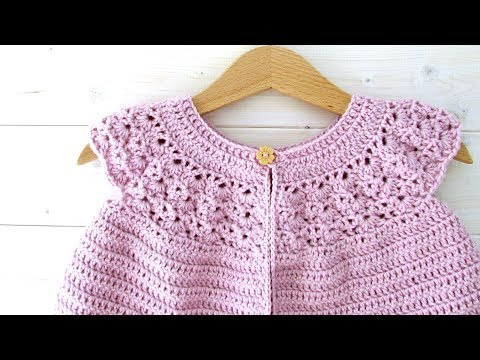 How to crochet a lace top baby cardigan / sweater - the Rosie cardigan