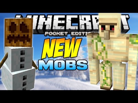 Iron Golems, Snow Golems & MORE!! - NEW MOBS in MCPE!! - Minecraft Pocket Edition 0.12.0