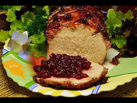 Pork loin in cranberry orange sauce