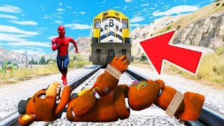 WITHERED FREDDY & SPIDERMAN vs TRAIN! (GTA 5 Mods For Kids FNAF Funny Moments) RedHatter