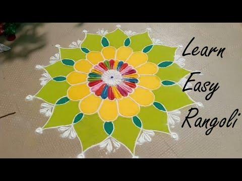 Very Easy Rangoli for festival | Rangoli design | Beautiful Rangoli design for competition